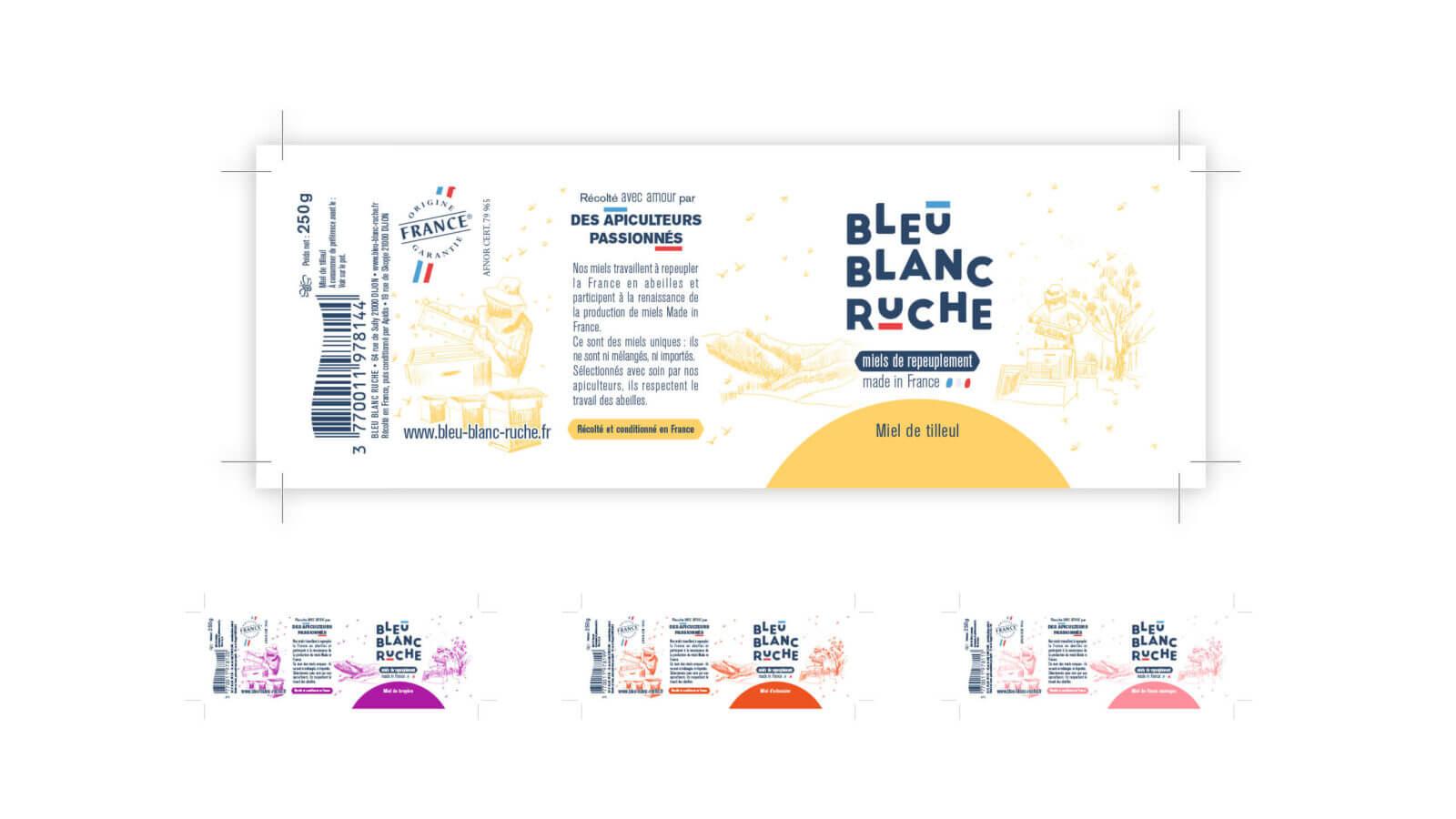 étiquette de packaging Bleu Blanc Ruche