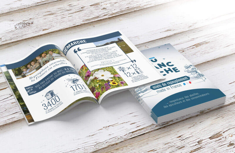 support de communication brochure Bleu Blanc Ruche