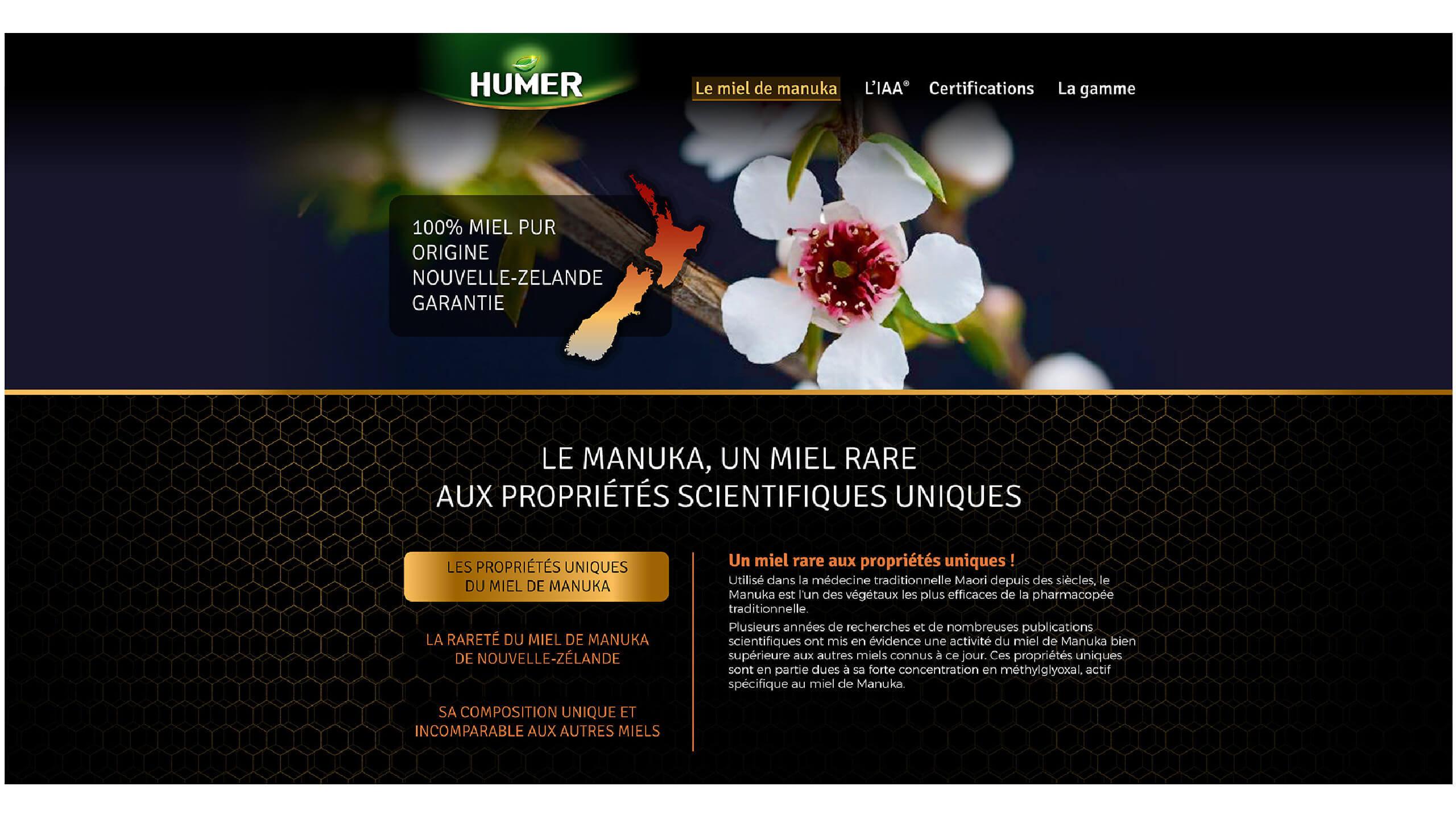 homepage du site internet humer
