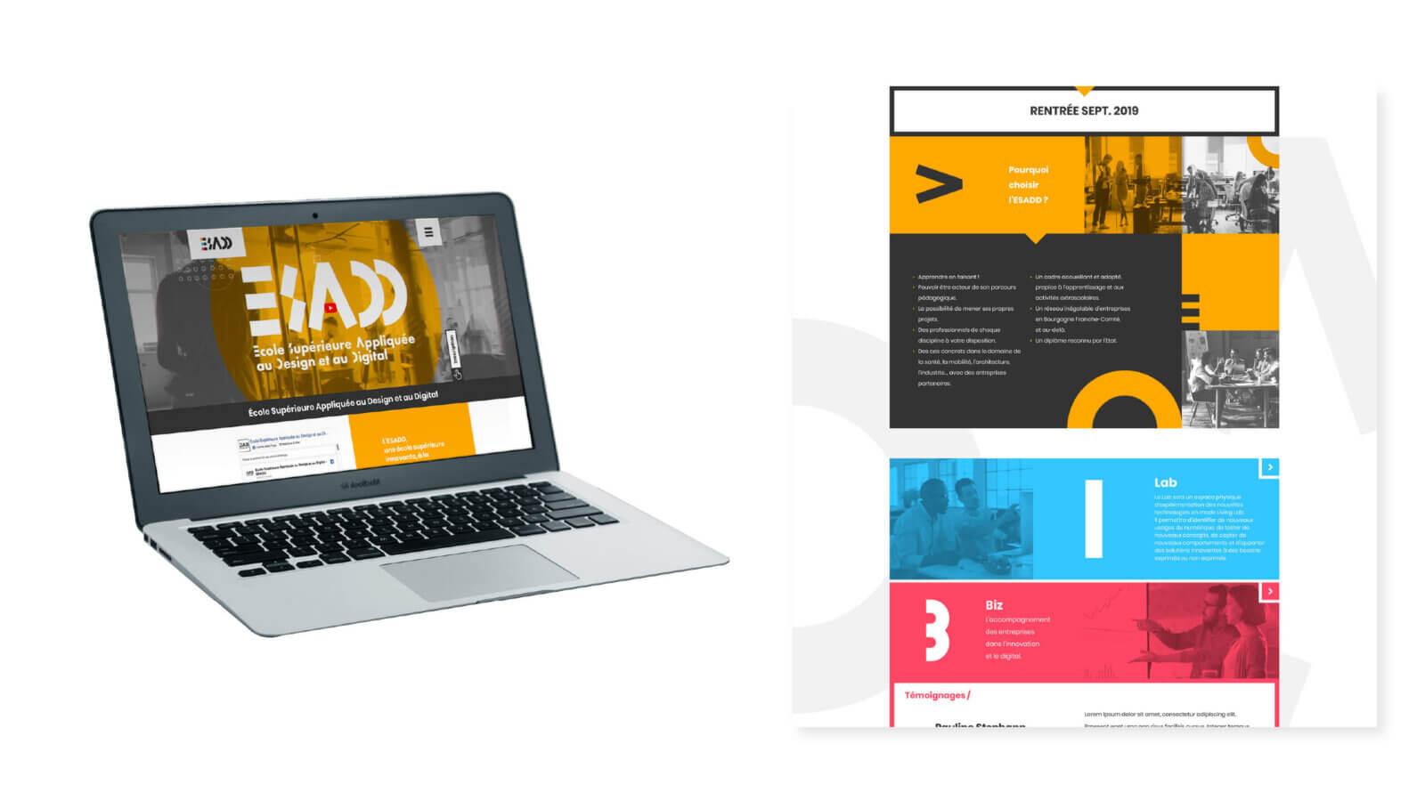 homepage du site vitrine de l'esadd