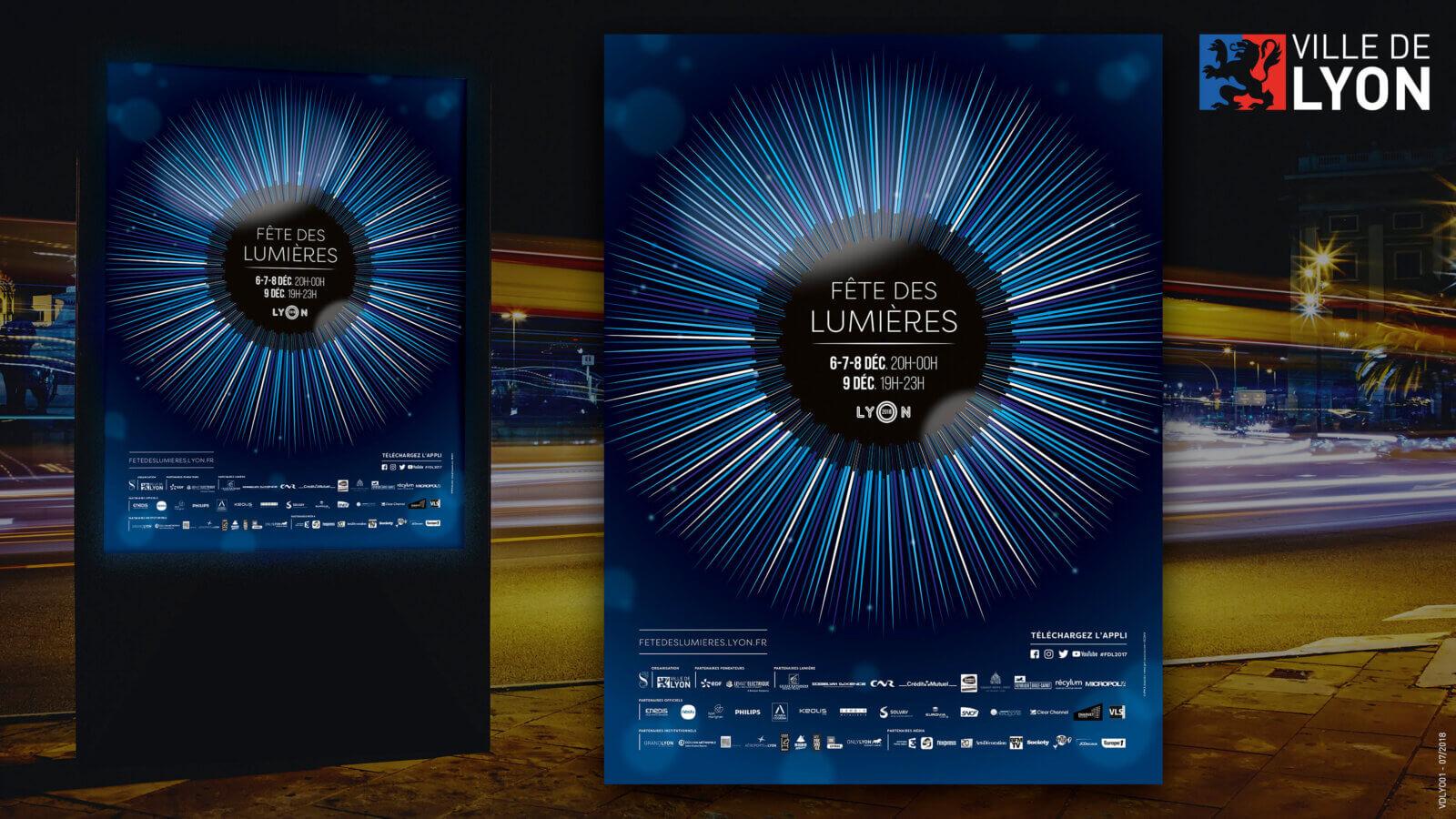 affiche pub fête des lumières de lyon
