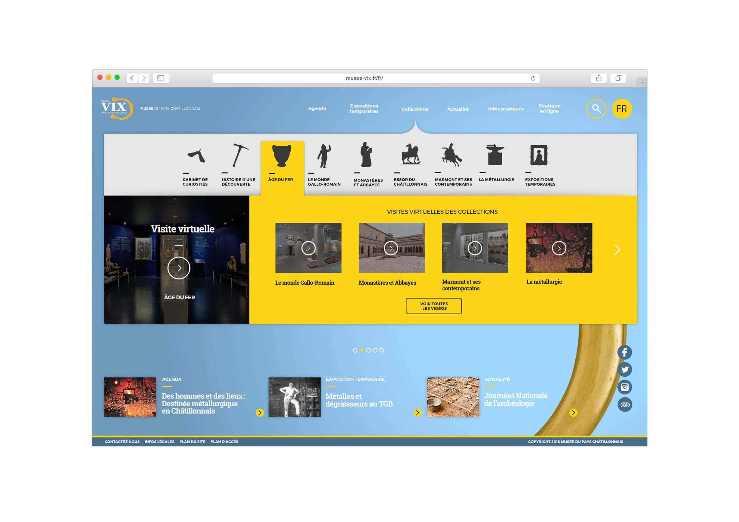 Megamenu visites virtuelles du musée